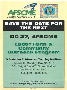 Labor, Faith and Community Outreach prog Training flyer 5 12 14