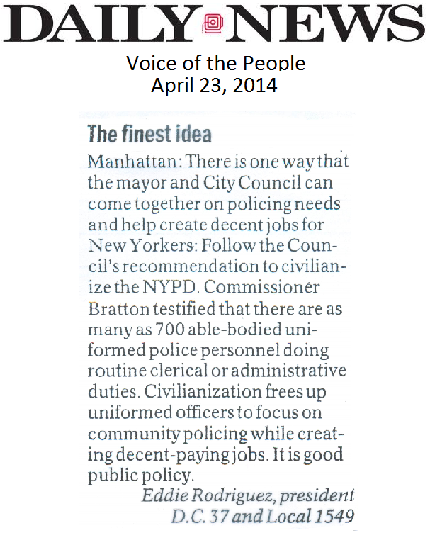 Pres. Rodriguez Letter to the Editor Regarding NYPD Civilianization