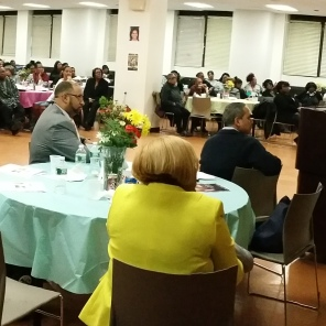 Attendees view video tribute to former DC37 Exec Dir Lillian Roberts